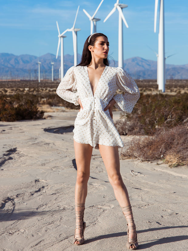 Gabriela Metallic Silk Playsuit - Ivory