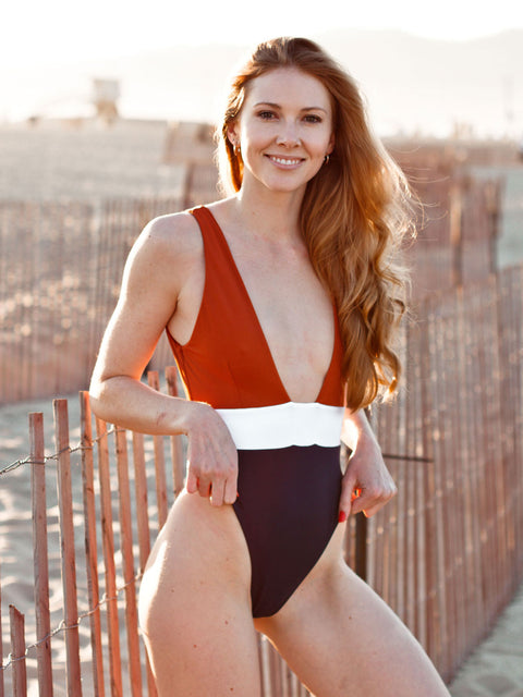 Belle One Piece - Clay/White/Navy  - IMME swimwear