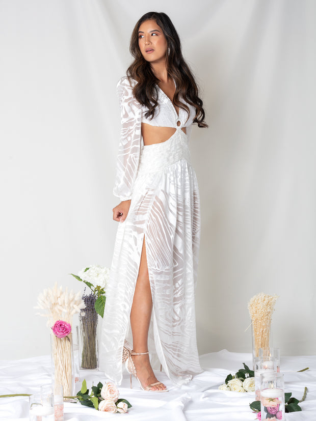 Gigi Cut Out Silk Maxi Dress - Ivory