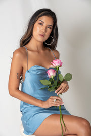 Iconic Silk Cowl Neck Slip Dress - Blue