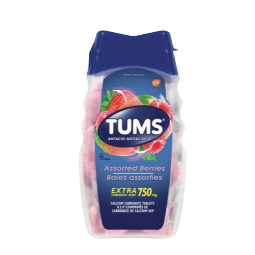 TUMS Calcium Carbonate Tablets Assorted Berries 750mg 100ct