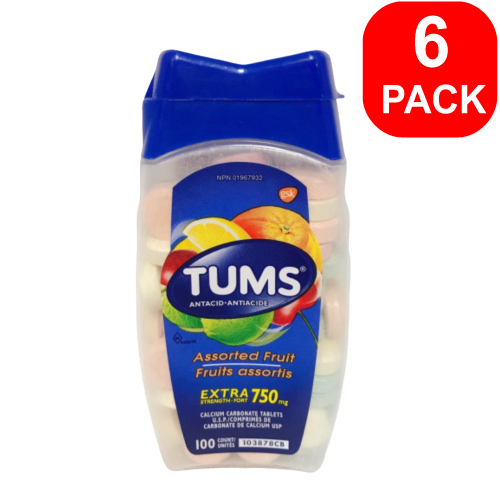 TUMS Calcium Carbonate Tablets Assorted Fruit 750mg 100ct 6 Units