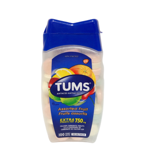 TUMS Calcium Carbonate Tablets Assorted Fruit 750mg 100ct