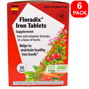 Salus Floradix Iron Tablets 120ct 6 Units