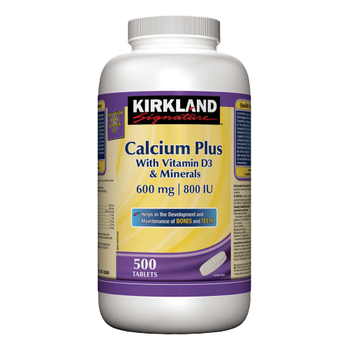 Kirkland Calcium Plus with Vitamin D3 Minerals 500ct