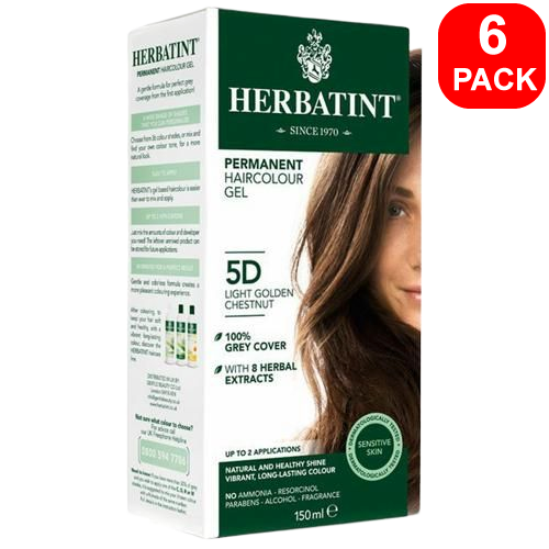 Herbatint Natural Herb Based Hair Colour 5D Light Golden Chestnut 6 units