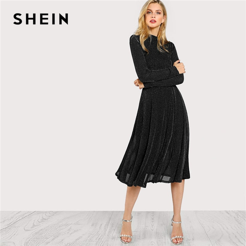 c2292ce6632 SHEIN Streetwear Weekend Casual Black Mock Neck Glitter Fit   Flare Dress  2018 Autumn Elegant Women ...