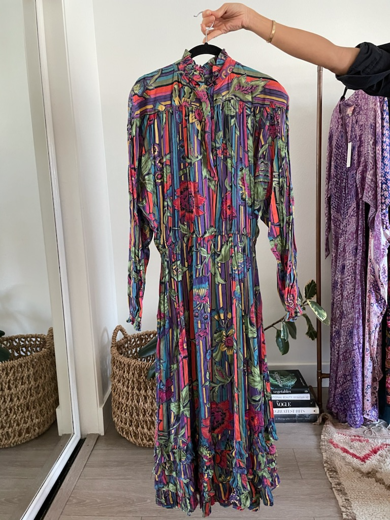 Judith Ann Vibrant Stripe Floral Maxi - Just Say Native Pop Up