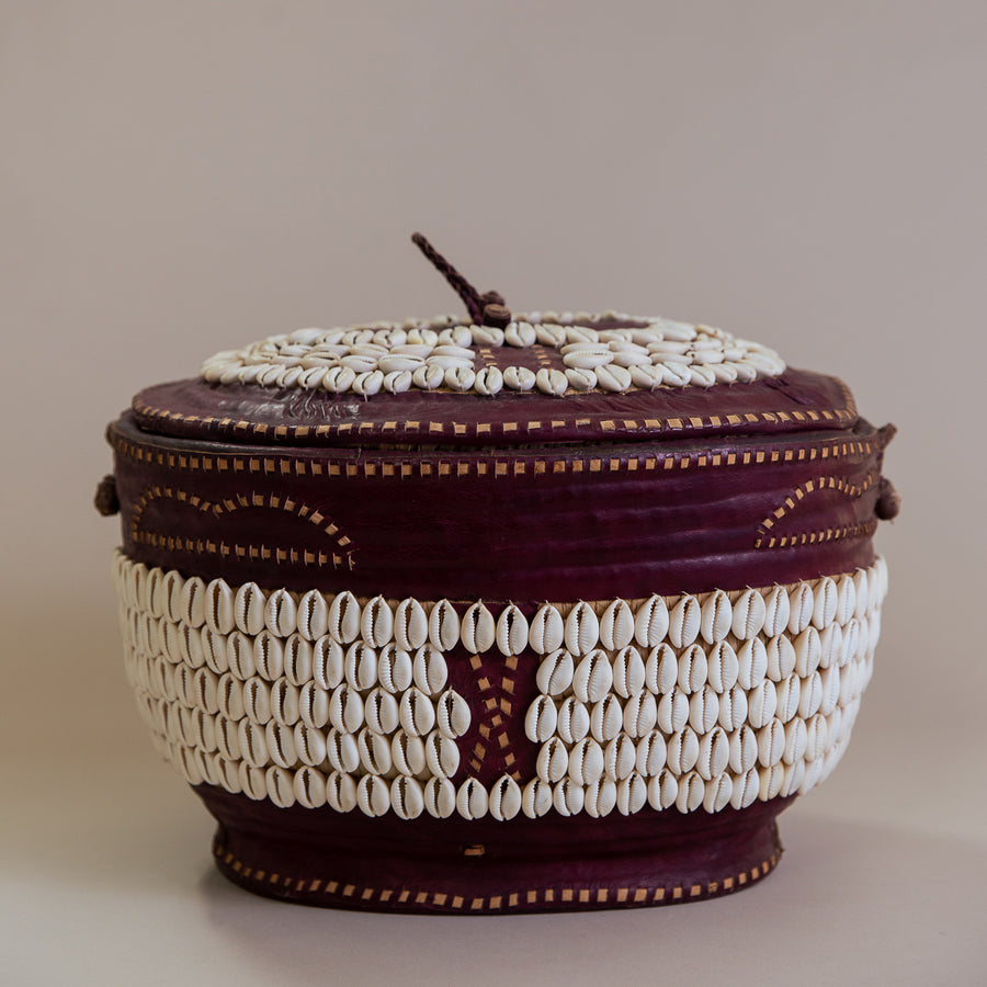 Highbrow Hippie Hausa Tribe Handmade Leather Cowrie Shell Basket