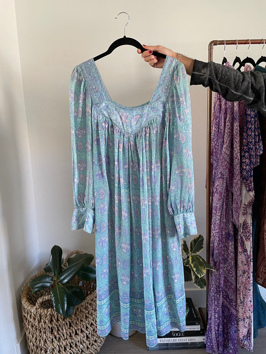Pastel Silk Floral Indian Dress - Just Say Native Pop Up