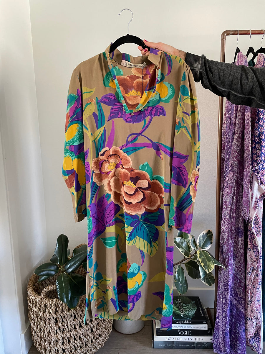 Scherrer Vibrant Silk Floral Dress - Just Say Native Pop Up