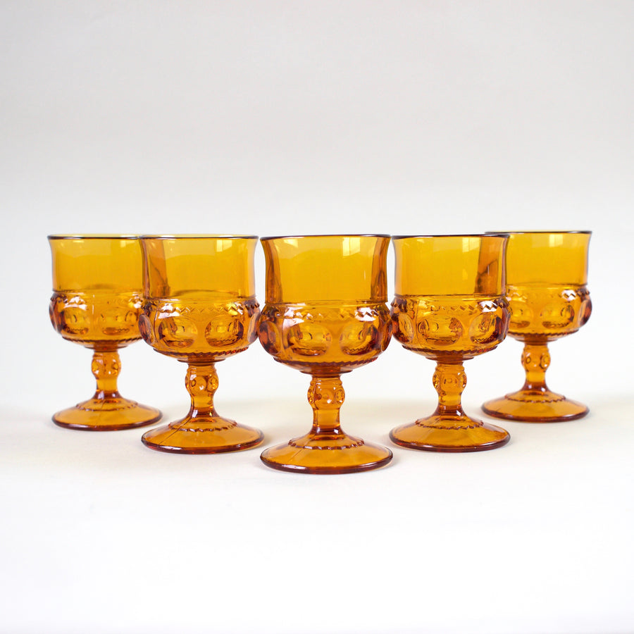 Highbrow Hippie Amber Glass Goblets (Set of 2)