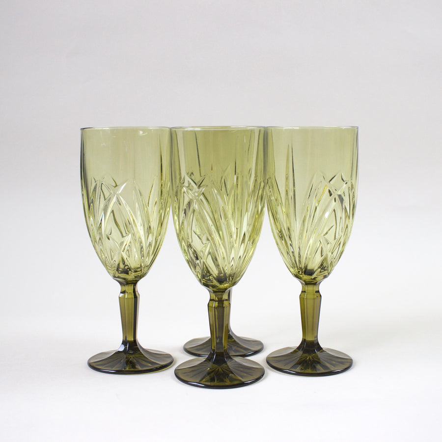 Highbrow Hippie Waterford Green Glass Water Goblets (Set of 4)