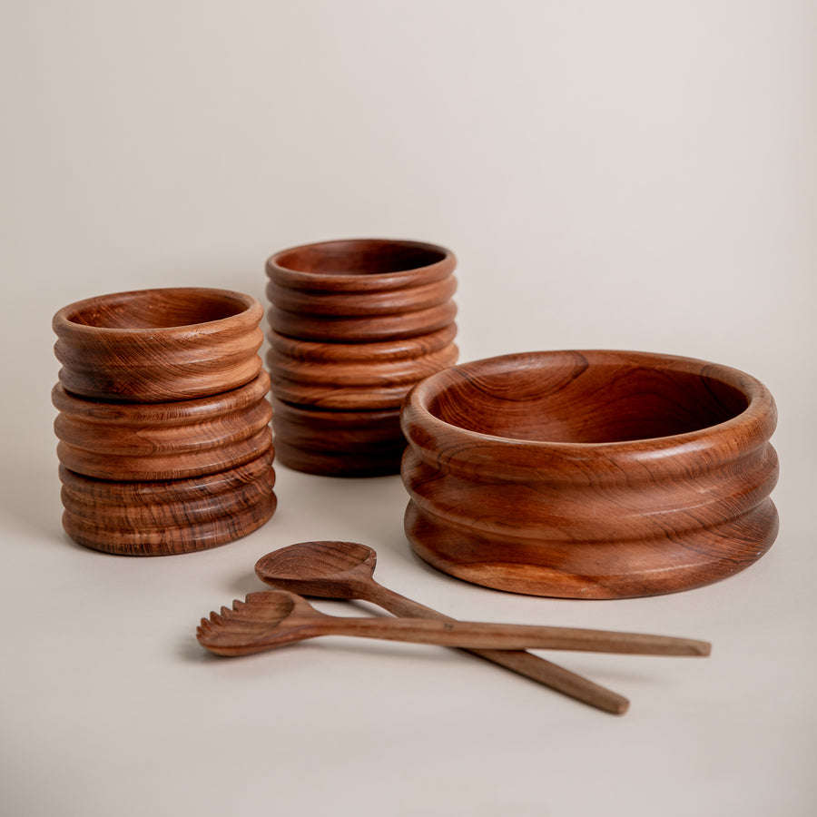 Highbrow Hippie Vintage Teak Salad Set