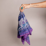 Vintage Indian Purple and Blue Scarf