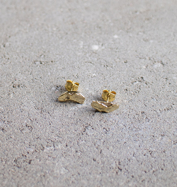 Bark • tiny brass earrings