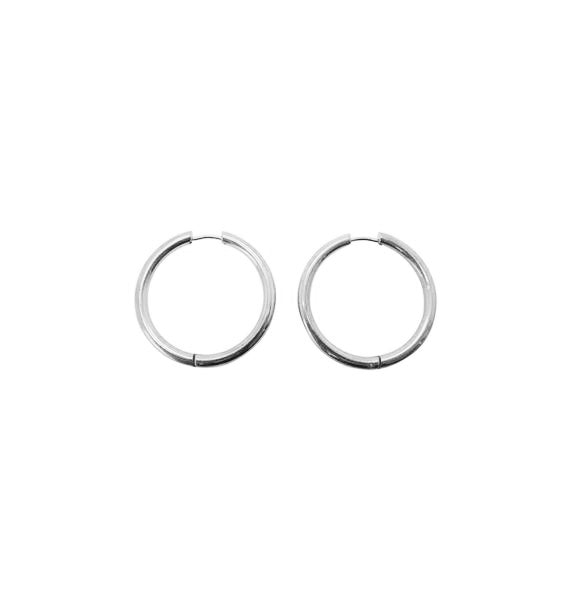 Thick silver hoops • 25mm