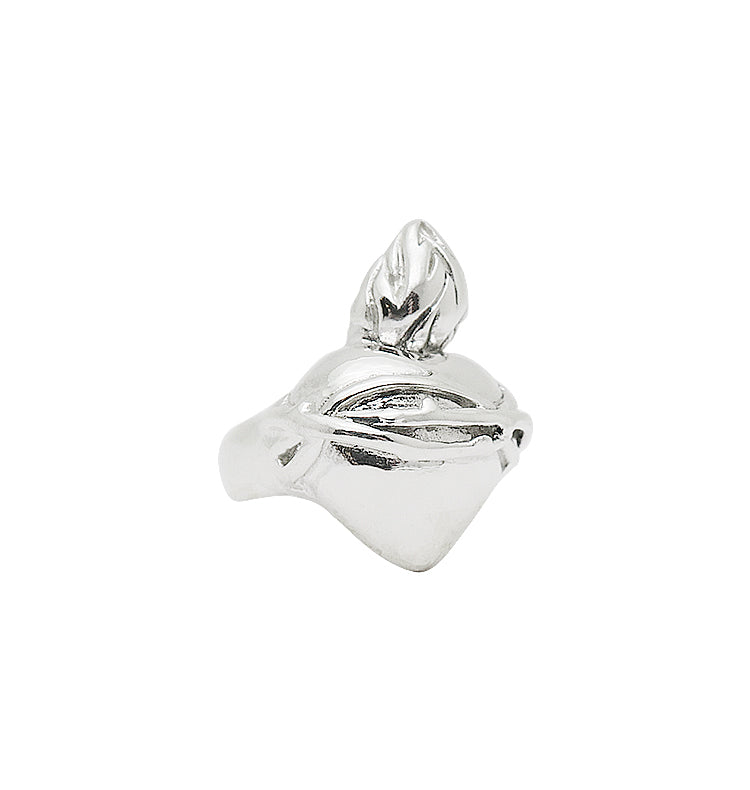 Burning heart ring • silver