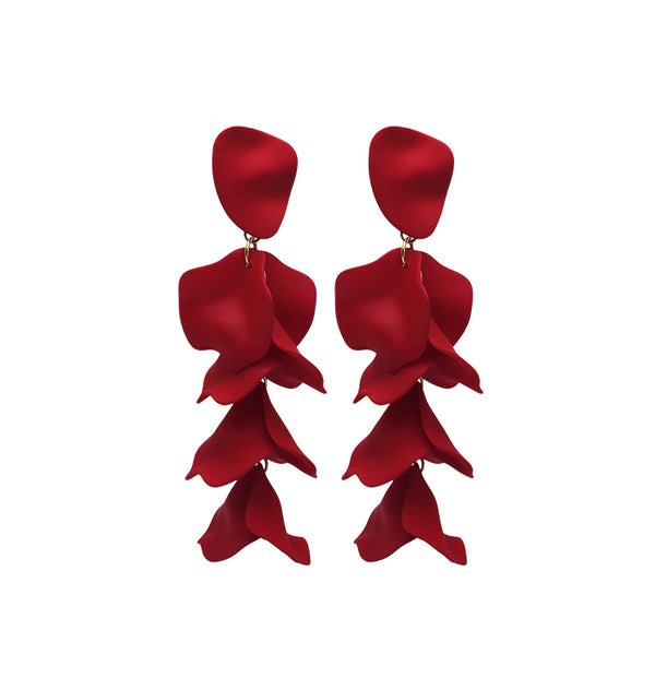 Flake earrings red