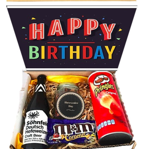 Happy brithday box cerveza  pringles m&ms