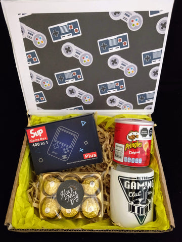 kit gamer consola retro 400 juegos chocolates ferrero rocher y mug joystick