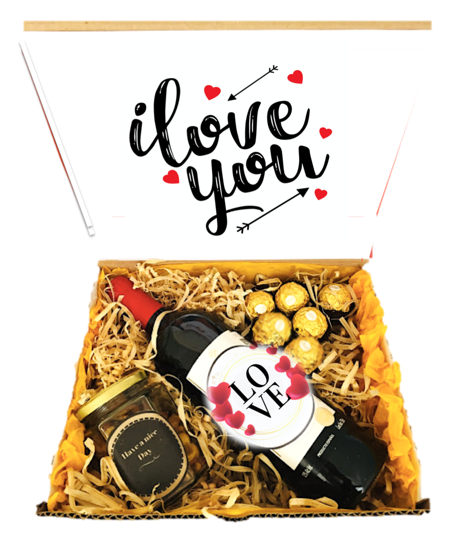 Caja con Vino y Chocolates  Black and Gold LOVE