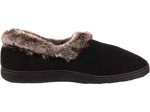 Acorn Slipper Acorn Womens Chinchilla Collar Slippers  - Black