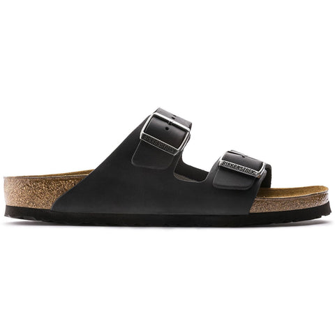 Birkenstock Sandals Black / 35 / Regular Birkenstock Arizona Two Strap Sandals - Black Oiled Leather