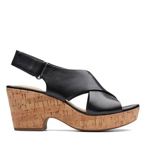 Clarks Sandals Black / 5 / M Clarks Womens Maritsa Lara Wedge Sandals - Black