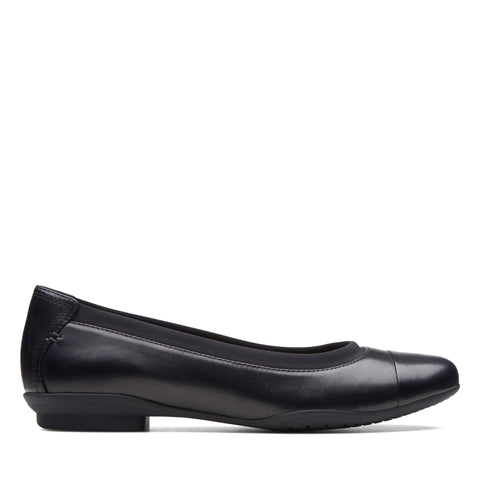 Clarks Shoe Black Leat / 7 US / N Clarks Womens Neenah Garden Ballet Flats - Black Leather