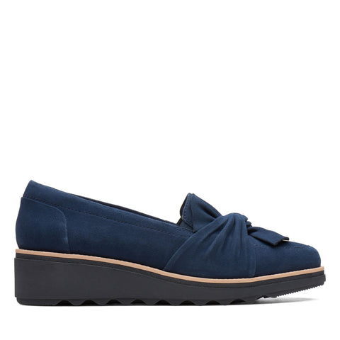 Clarks Shoe Navy Suede / 5 / M Clarks Womens Sharon Dasher Slip On Shoes - Navy Suede