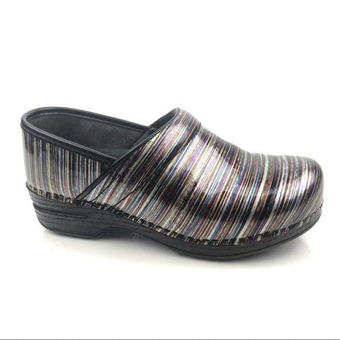 Dansko Shoe Grey / 35 / M Dansko Womens Professional XP Clogs - Grey Striped Patent