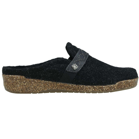 Earth Slipper Black Felt & PU / 5 / M Earth Womens Janet Clog House Shoes  - Black Felt/ PU