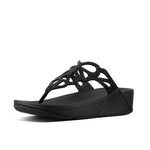 Fitflop Sandals Black / 5 US / M (Medium) Fitflop Womens Bumble Crystal Toe Post Sandals - Black