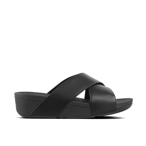 Fitflop Sandals Black / 5 US / M (Medium) Fitflop Womens Lulu Leather Cross Slide Sandals - Black
