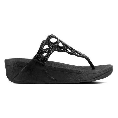 Fitflop Sandals Fitflop Womens Bumble Crystal Toe Post Sandals - Black