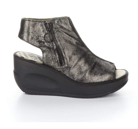 Fly London Sandals 36 / M / Graphite Fly London Womens Jape Low Wedge Sandals - Graphite
