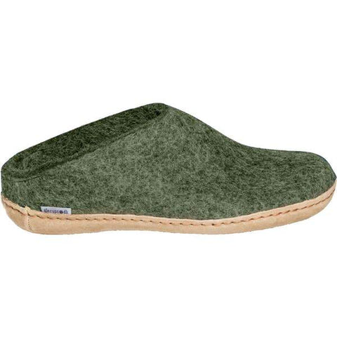 Glerups Slipper forest / 35EU / M Glerups Unisex Open Heel Slippers (Leather Sole) - Forest