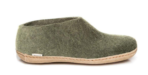 Glerups Slipper forest / 35EU / M Glerups Unisex Shoe Style Slippers (Leather Sole) - Forest