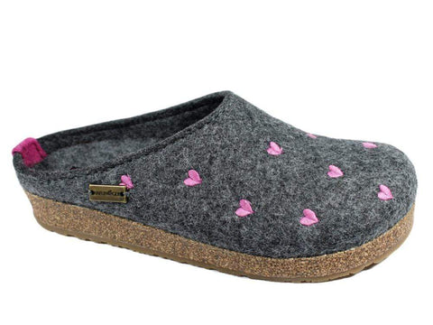 Haflinger Slipper Cuoricino Grey / 35 / M Haflinger Womens Grizzly Cuoricino Slippers - Grey