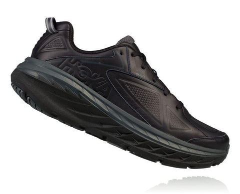 Hoka One One Shoe Black / 7 / 2E Hoka One One Mens Bondi Running Shoes (Wide) - Black Leather