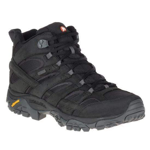 Merrell Boots BLACK / 7 / M Merrell Mens Moab 2 Smooth Mid Waterproof Hiking Boots - Black