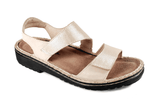 NAOT Sandals Naot Womens Enid Sandals - Beige Nubuk/Gold Threads