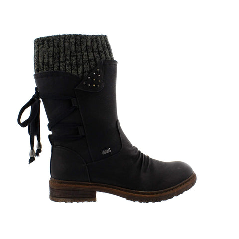 Rieker Boots Black / 36EU / M Rieker Womens Mid Ruched Sweater Boots - Black