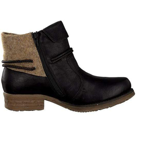 Rieker Boots Black Combination / 35EU / M Rieker Womens Low Cut Boots - Black Combination