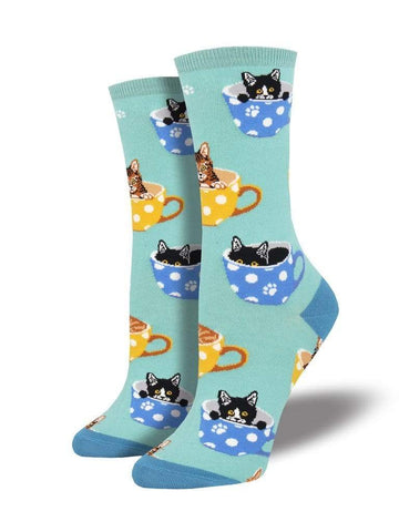 SockSmith Socks O/S / Tea Cats SockSmith Womens Graphic Cotton Crew Socks