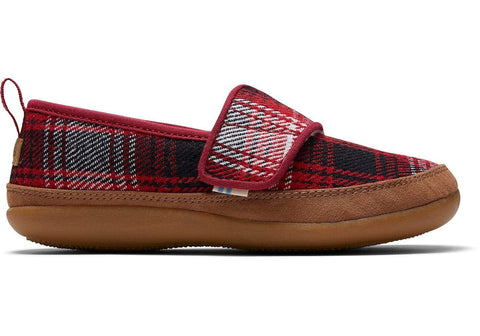 TOMS Kids Red Plaid / 1 / M Toms Youth Inca Slippers - Red Plaid