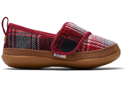TOMS Kids Red Plaid / 2 / M Toms Tiny Inca Slippers - Red Plaid