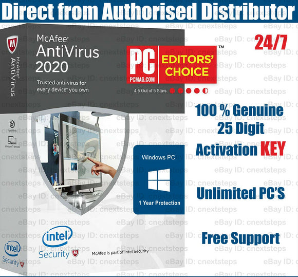 McAfee Antivirus 2020 Unlimited PC's for 1 Year KEY - INSTANT DELIVERY - ORIGINAL NEW KEY CODE! - Reloook