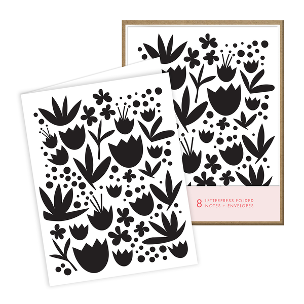 Black Floral Note Set
